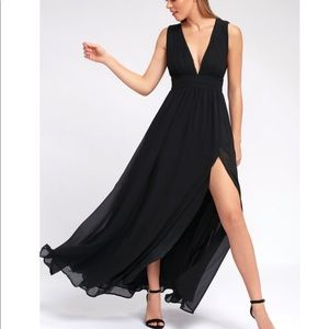Black Maxi Dress with Side Slit NWT